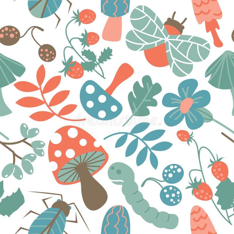 Pilz- und Insektenmuster lizenzfreie abbildung