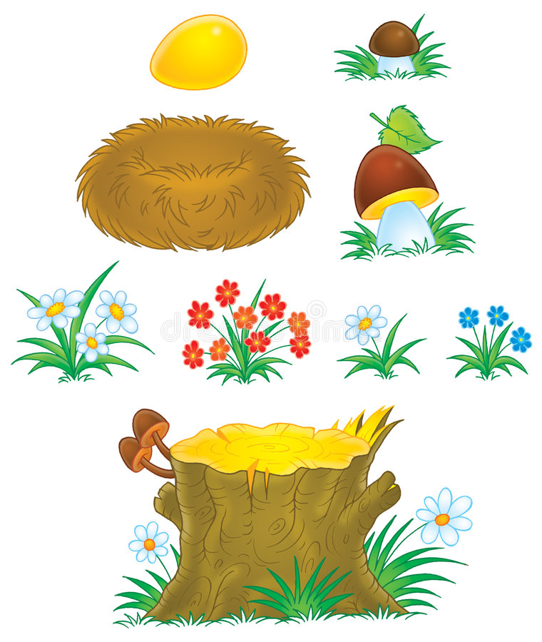 Pilze, Blumen, Stumpf und Nest stock abbildung
