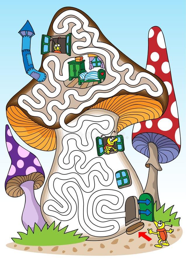 Pilze - Labyrinth für Kinder lizenzfreie abbildung