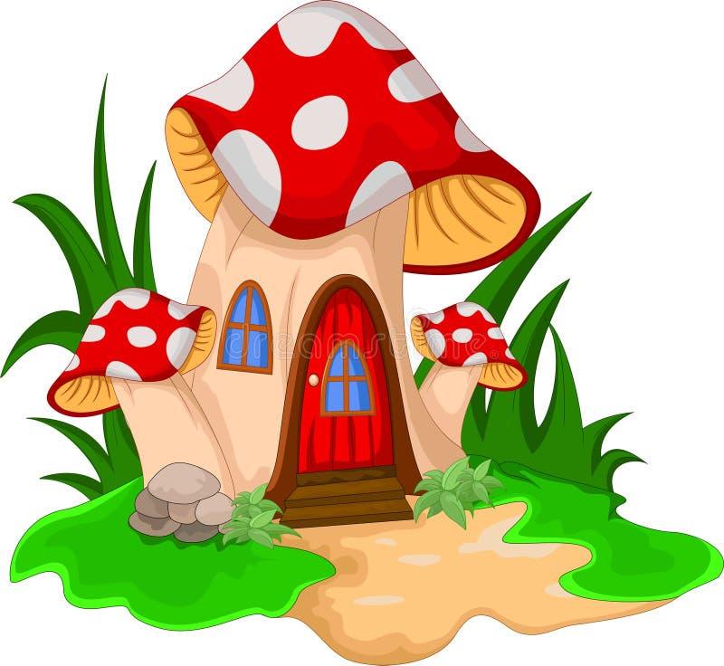 Pilzhaus mit einem Garten von Blumen stock abbildung