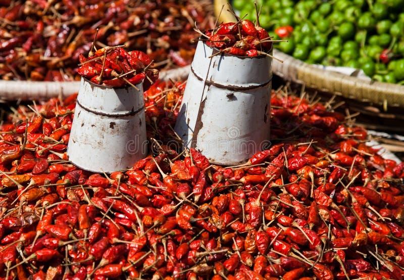 Pimentões no mercado em Kathmandu, Nepal imagens de stock