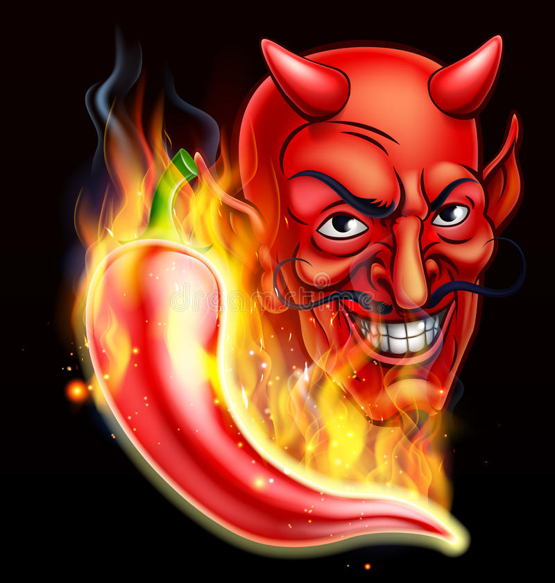 Piment et diable flamboyants illustration libre de droits