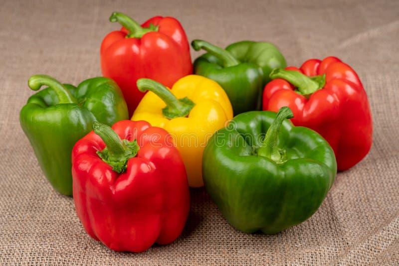 Pimenta colorida da paprika no fundo de serapilheira imagem de stock