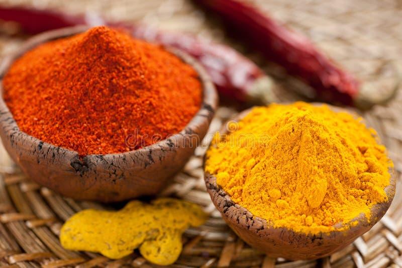 Pimenta de pimentão vermelho e turmeric quentes imagem de stock royalty free