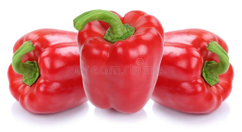 A pimenta de sino vermelha salpica o alimento vegetal das paprika da paprika isolado fotos de stock royalty free