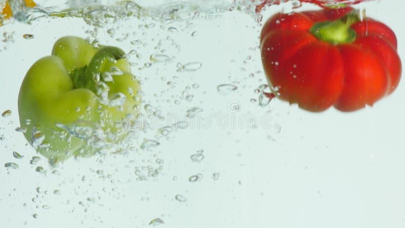 A pimenta de sino vermelha, verde, amarela cai à água, causando bolhas e a água dispersada imagem de stock royalty free