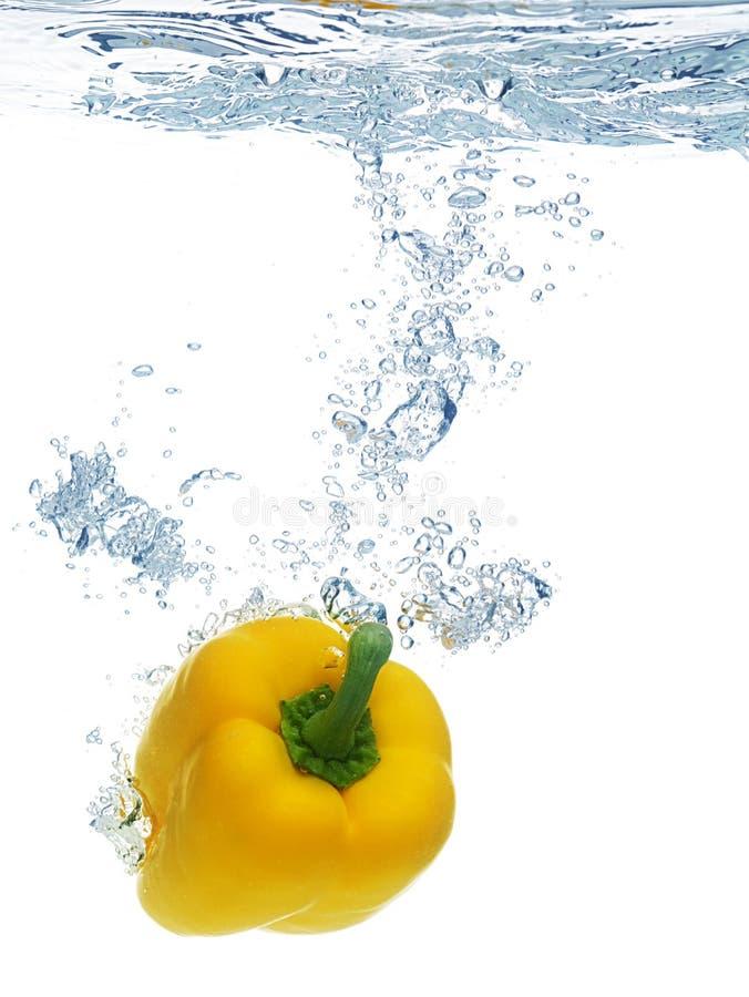 Pimenta deixada cair na água imagem de stock royalty free