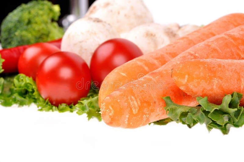Pimenta dos musrooms da cenoura da salada verde fotos de stock