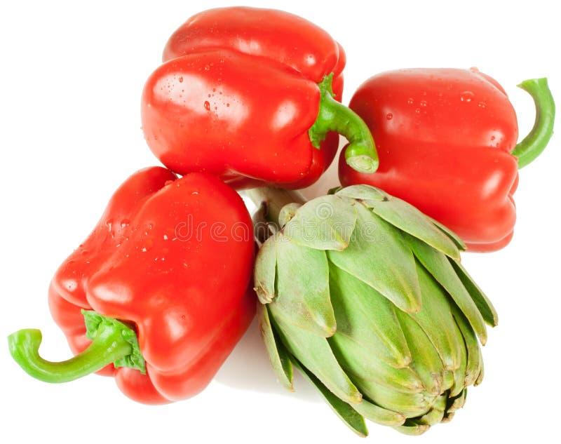 Pimenta e alcachofra imagem de stock