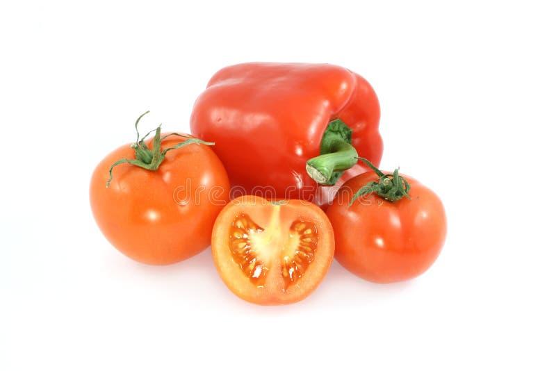 Pimenta e tomate imagens de stock