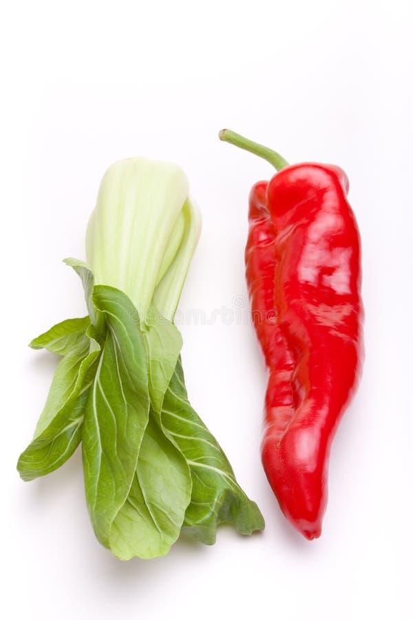 Pimenta n Pak Choi imagens de stock