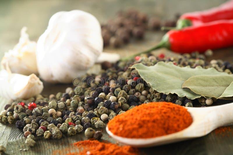 Pimenta, pimentão e alho fotografia de stock