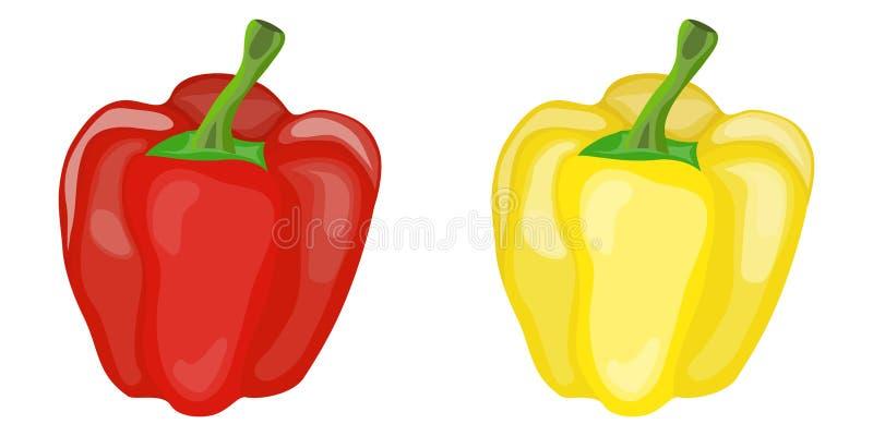 Pimenta vermelha e amarela doce Duas pimentas ilustração royalty free