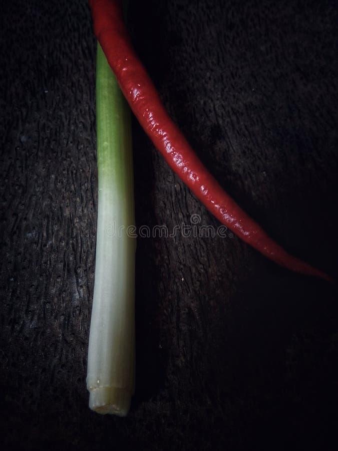 Pimentas de pimentão vermelho e cebola verde imagens de stock