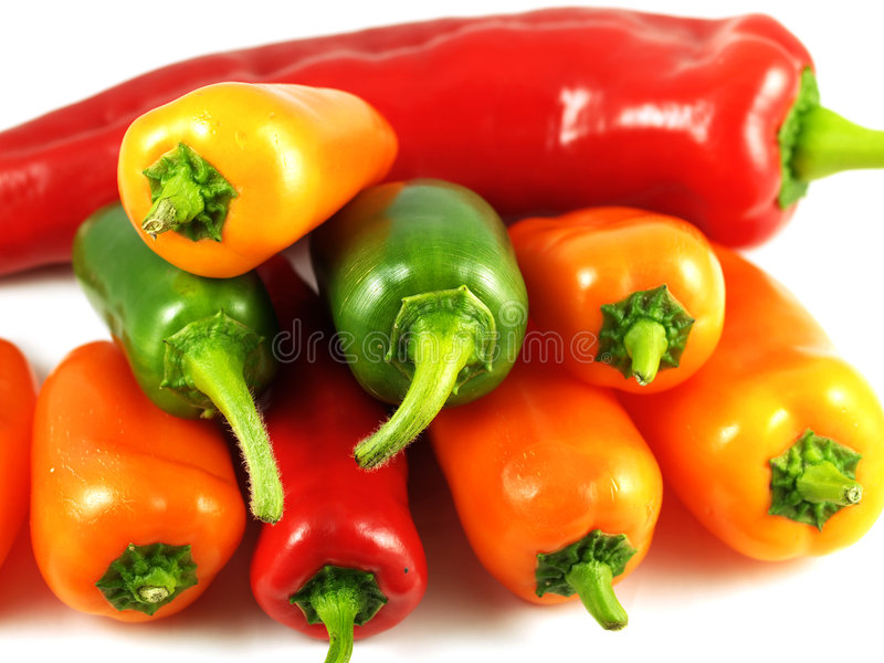 Pimentas e chillis misturados foto de stock