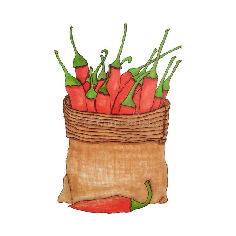 Pimentas em um saco da lona Esboço tirado mão do vetor ilustração royalty free