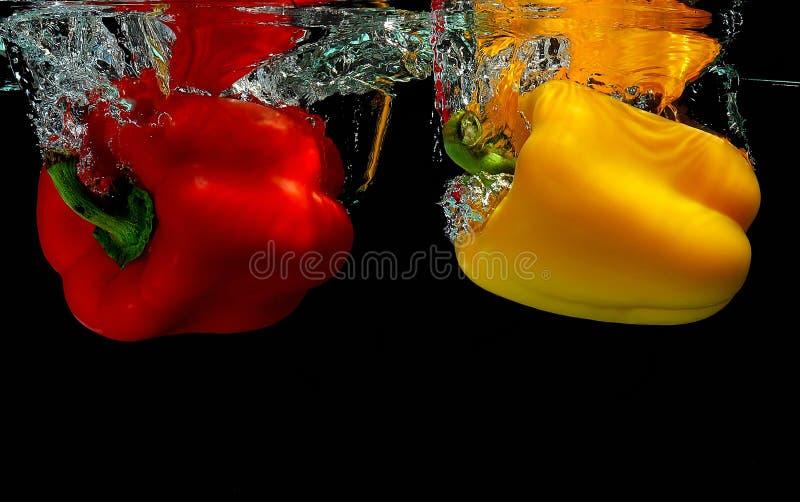 Pimentas que caem na água imagem de stock royalty free