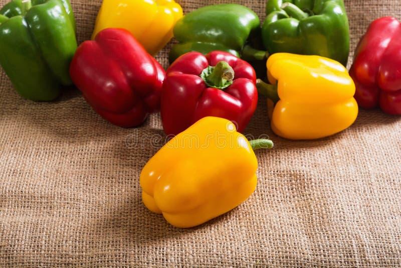 Pimentas verdes, vermelhas e amarelas coloridas fotografia de stock