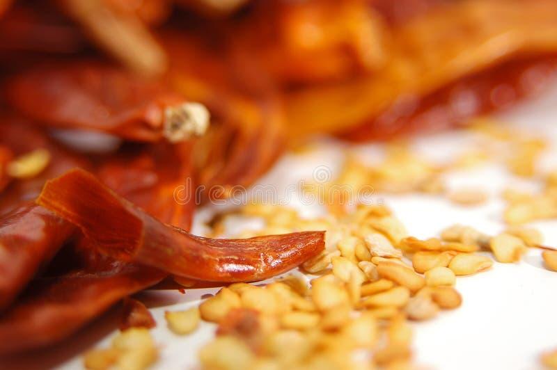 Pimentas vermelhas com semente imagens de stock royalty free