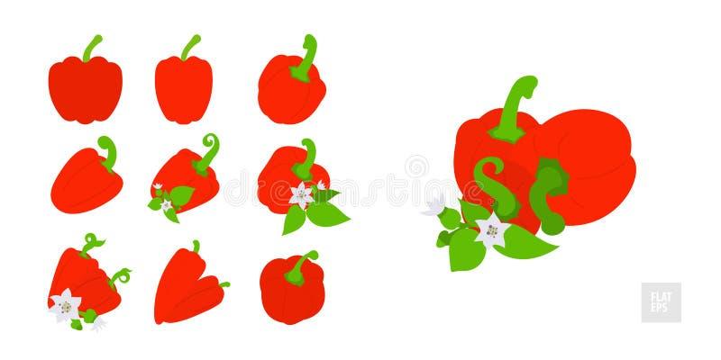 Pimentas vermelhas doces em um grupo branco do fundo Estilo liso muito simples Várias pimentas na variedade com folhas, botões e  ilustração stock
