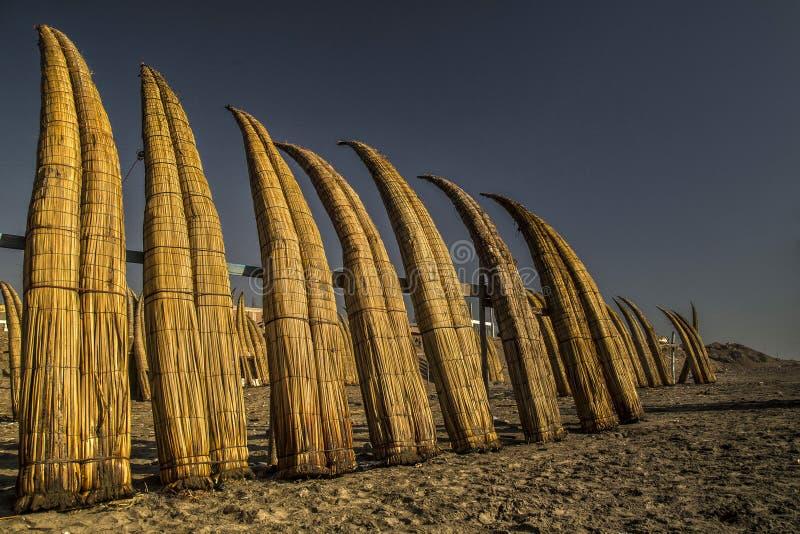 Pimentel beaches in chiclayo - Peru. Fishing area stock images
