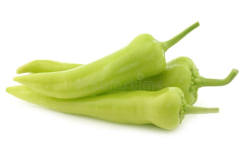 Pimentos doces verdes frescos (pimentas da banana) imagens de stock