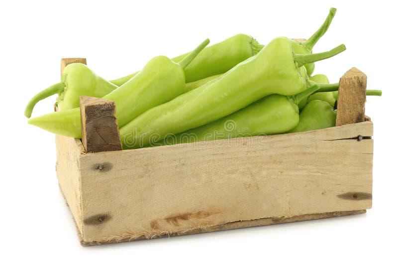 Pimentos doces verdes frescos (pimentas da banana) foto de stock royalty free