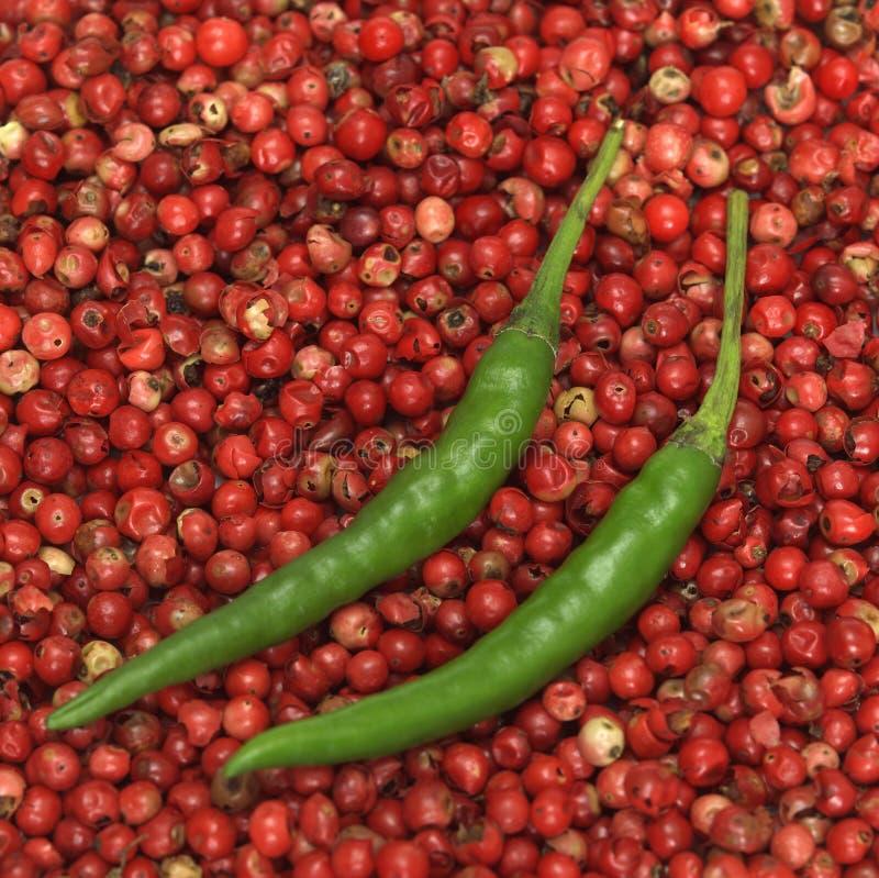Piments verts sur le poivron rouge, plan rapproché photo libre de droits