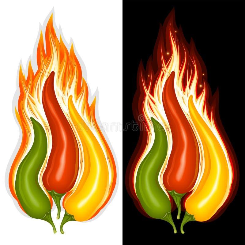 Pimienta de chiles calientes en la dimensión de una variable del fuego libre illustration