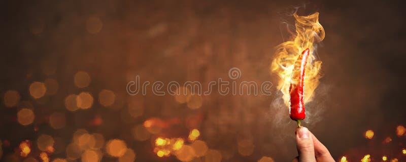 Pimienta del chile picante rodeada por panorama del fuego y de las llamas foto de archivo