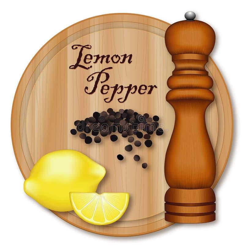 Pimienta del limón, molino de pimienta, tabla de cortar de madera stock de ilustración