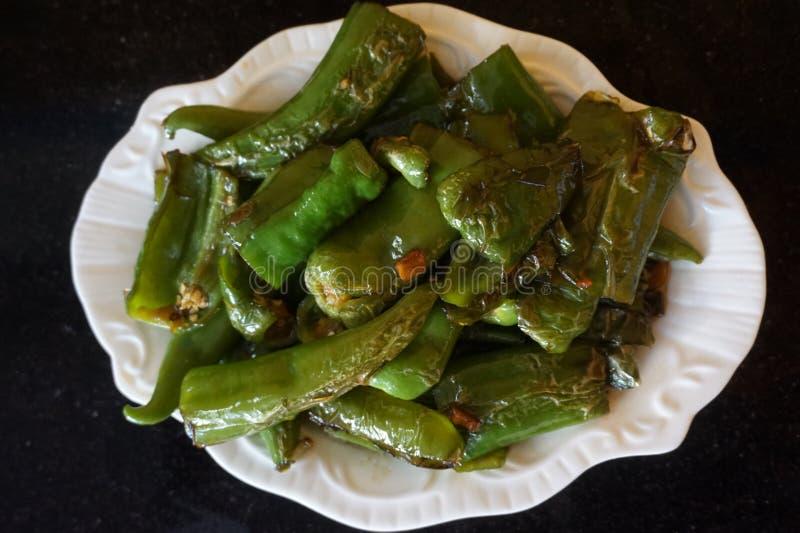 Pimienta frita comida china de anaheim fotografía de archivo libre de regalías