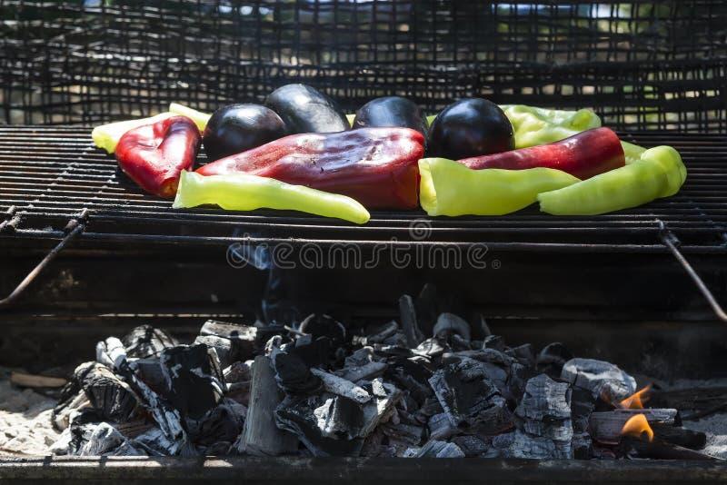 Pimientas de chile frescas de anaheim que asan sobre un fuego del carbón de leña fotografía de archivo
