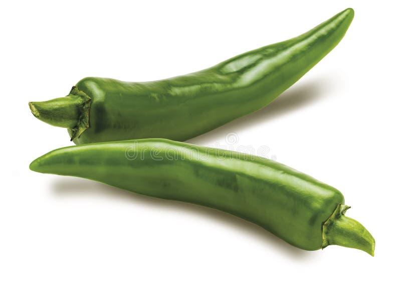 2 pimientas de chiles verdes frescas fotografía de archivo libre de regalías