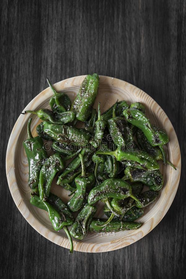 Pimientos padron grilled spanish green chilli peppers tapas snack. On plate in rustic santiago de compostela restaurant royalty free stock photos