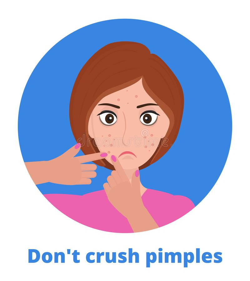 Pimple was popping on the woman s face. Do not crush acne text under illustration. Pimple was popping on the woman s face. Don t crush acne text under royalty free illustration