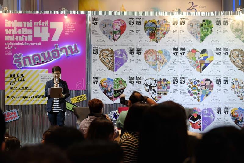 Pimtha e Mayy, idolo netto su Youtube danno un'intervista nel lancio del libro, fiera del libro nazionale di Bangkok 2019 immagine stock libera da diritti