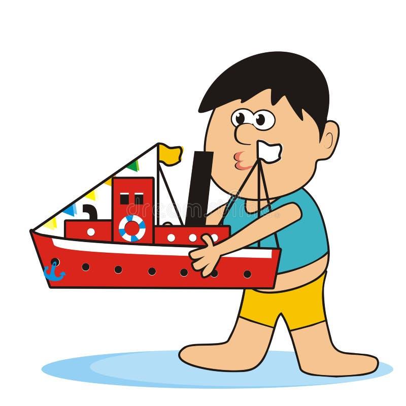 Pinça e navio ilustração stock