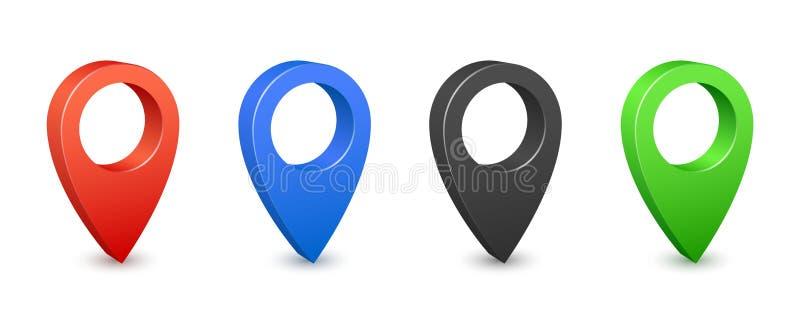 Pin地图地方地点3d象 颜色gps映射别针 地方地点和目的地标志 航海别针尖 皇族释放例证
