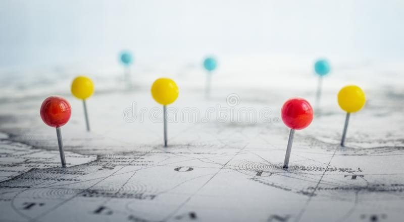 Pin地图的标号地点 冒险,发现和移动 库存图片