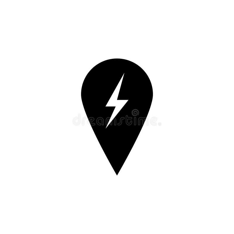 Pin,在白色背景的闪电象 能为网,商标,流动应用程序,UI UX使用 向量例证