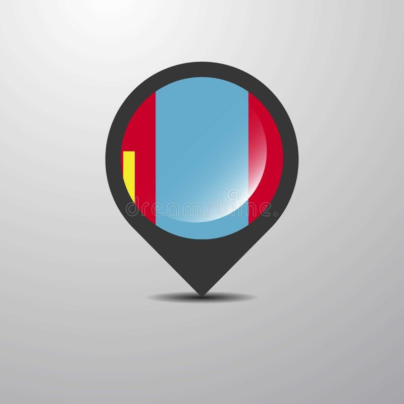 Pin карты Монголии иллюстрация штока