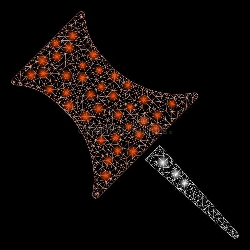 Pin сетки пирофакела 2D с засветками экрана иллюстрация штока