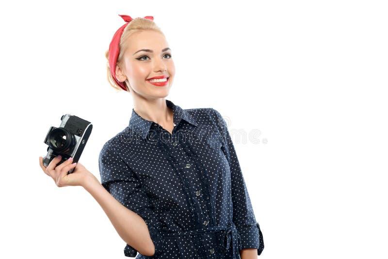 Pin acima da menina com uma câmera imagens de stock