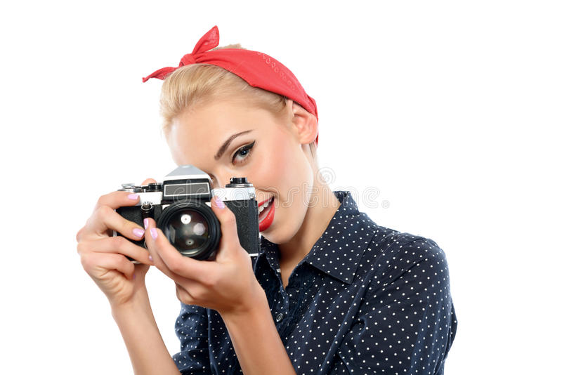 Pin acima da menina com uma câmera foto de stock royalty free