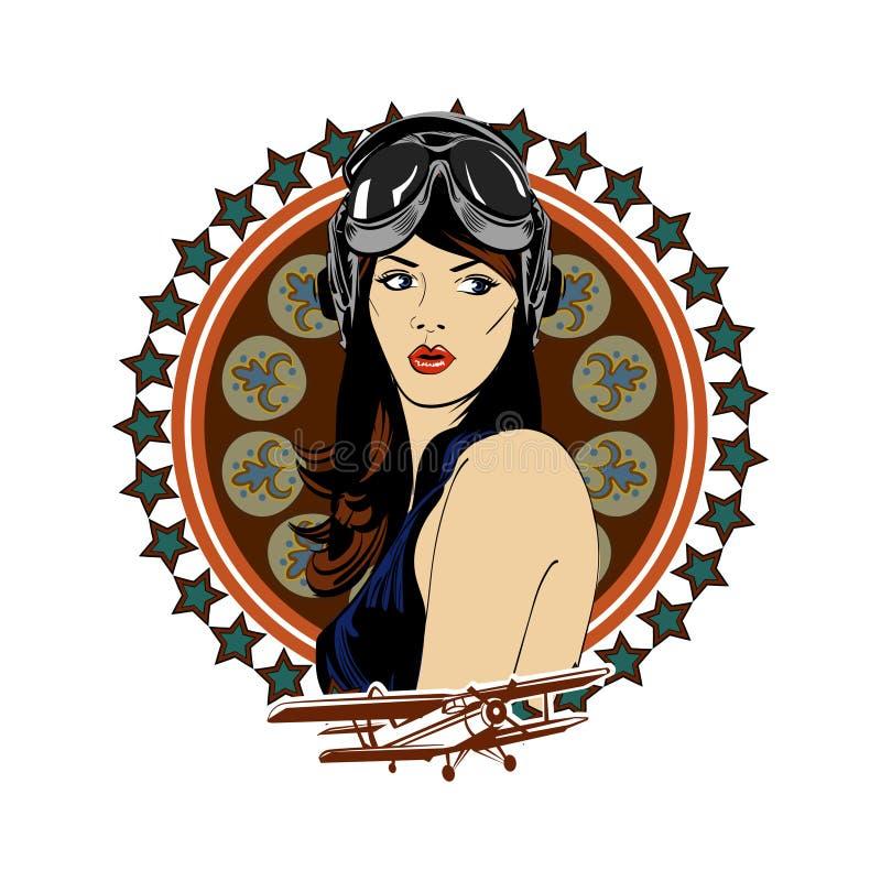 Pin acima do emblema cômico retro do vintage da beleza do exército da aviação do piloto da menina ilustração stock