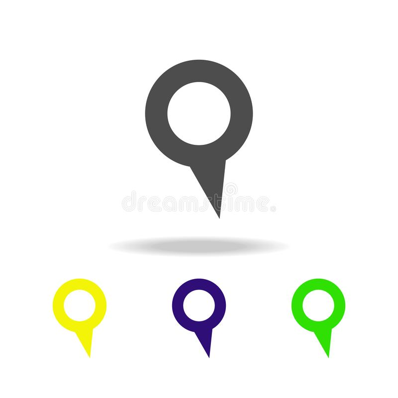 Pin with an acute angle multicolor icon. Element of web icons. Signs and symbols icon for websites, web design, mobile app on whi. Te background with shadow on stock illustration
