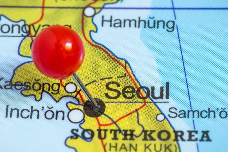 Pin auf einer Karte von Seoul stockfotografie