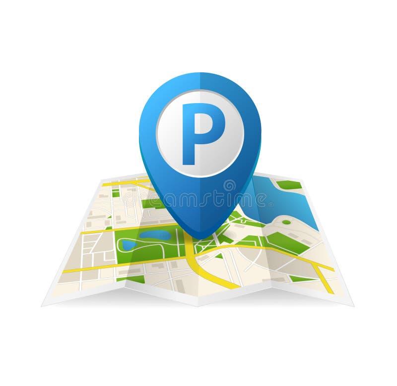 Pin blu dell'etichetta di parcheggio dettagliato realistico 3d per il App Vettore royalty illustrazione gratis