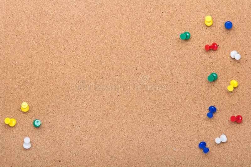 Pin board texture for background and colorful pins frame royalty free stock images